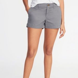 Gray Mid-Rise Twill Everyday Shorts